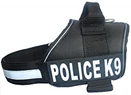 Police K9 Dog Vest working Harness with Removable velcro Patches and reflective trim Schtuzhund fits Xsmall, Small Medium Large XL size, Purchase comes with 2 POLICE K9 reflective pathces