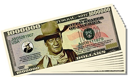 John Wayne Novelty Million Dollar Bill - 25 Count with Bonus Clear Protector & Christopher Columbus Bill