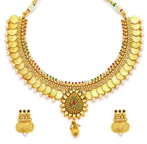 Youbella Multicolor Gold-Plated Choker Necklace With Drop Earrring For Women