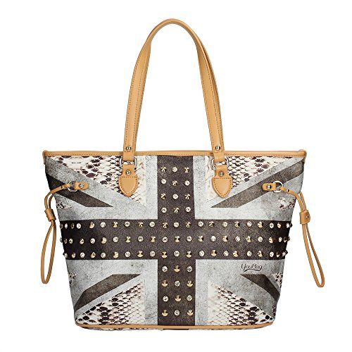 BORSA DONNA SHOPPING A SPALLA YOU BAG STAMPA BANDIERA UK FASHION NUOVA ORIGINALE CON ETICHETTE