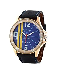 Swiss Trend Stylish Mens Blue Watch With Black Leather Strap(Artshai1652)