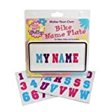 Kid's Bicycle Customizable License Plate - Ride Along Dolly Make Your Own Bike Name Plate - Includes Over 150 Letter and Number Stickers