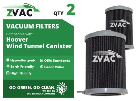 2 Pack Hoover Windtunnel Bagless Canister Filters 59134033 Fits Models 3755, S3755050, S3755080, S3765040 By Zvac Only From Govacuum