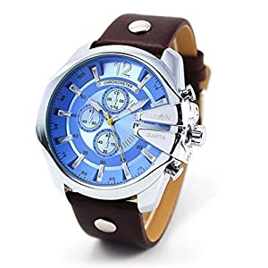 Outtop Curren® 8176 WaterproofDate Display Quartz Alloy Wristwatch with Leather Strap,53mm Dial,Blue