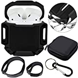 Moretek Silicone Protective Airpods Accessories Cases Cover Travel Bag for Apple Airpods Charging Case (Black)