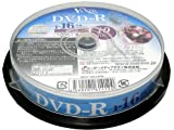 VENUS DVD-R 4.7GB 1-16倍速対応 10枚 データ・アナログ映像のパソコンでの記録用・スピンドルケース入り・インクジェットプリンタでのワイド印刷可能 VR47-16X10PW