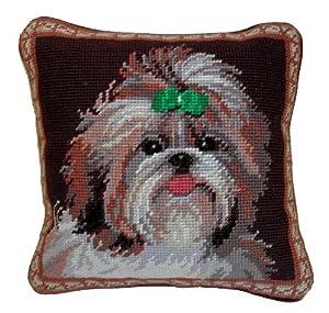 Shih Tzu Dog Portrait Wool Needlepoint Throw Pillow 10