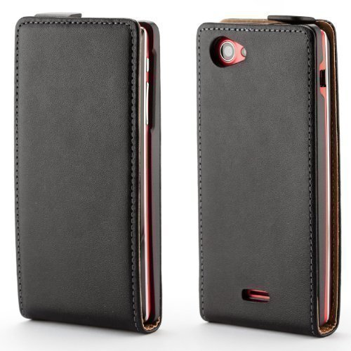 ECENCE Sony xperia J ST26i handy tasche flip case klapp schutz hülle cover schwarz inklusive Displayschutzfolie 32010303