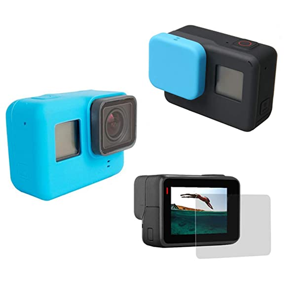 Silicone Protective Housing Case Cover with Silicone Lens Cover LCD Screen Protector Film for GoPro Hero (2018), GoPro Hero 7 Black, Hero 6, Hero 6 Black, Hero 5, Hero 5 Black (Blue) (Color: Blue)