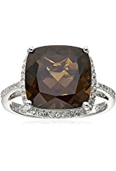 Sterling Silver Smoky Quartz and Created White Sapphire Ring