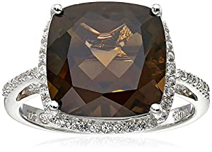 Sterling Silver Smoky Topaz and Created White Sapphire Ring, Size 7