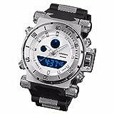 INFNATRY Herren-Armbanduhr Glanz Edelstahl Herrenuhr Quarz-Digitaluhr Große Fliegeruhr MIT Alarm Sportuhr