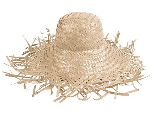 Cappello di paglia bianco (SH-21), paglietta in stile hawaii unisex in paglia accessorio carnevale travestimento festa tempo libero beach spiaggia mare protezione sole