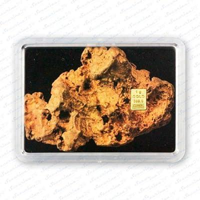 "Goldbarren 1g 1 Gramm Motivbox "" Goldnugget "" Gold Barren + Zertifikat von Securina24"