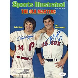 Buy Pete Rose & Carl Yastrzemski Autographed 1982 Sports Illustrated - Autographed MLB Magazines by Sports Memorabilia