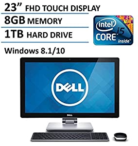 "2016 Newest Dell 23"" Full HD Touchscreen High Performance All-in-One Desktop Computer, Intel i5-4210M Processor, 8GB RAM, 1TB HDD, HDMI, WiFi, Webcam, Windows 8.1 / 10"