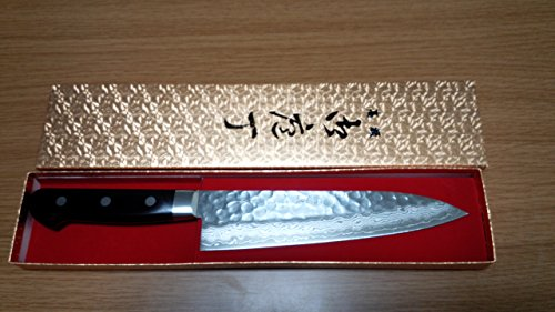 Kikuichi Cutlery Elite Warikomi Damascus Tsuchime Santoku Knife 7-in.