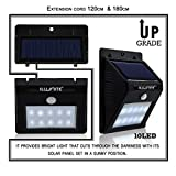 ILLUNITE Solar Light 10 Ultra Bright LEDs Motion Sensor Security Light Waterproof Unique Detachable Design with Extra Long Extension Cords for Indoor/Outdoor Use, 2 PACK