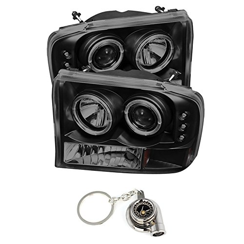 Ford F250 Super Duty / Ford Excursion 1PC Projector Headlights Version 2 LED Halo LED Black Housing With Smoke Lens + Free Gift Hyper Black Turbo Key Chain.