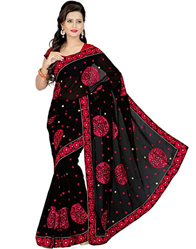 Cbazaar Black Chiffon Embroidered Saree with Blouse Piece