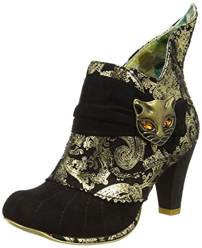 Irregular Choice Miaow - Stivaletti donna, colore Nero (Black/Gold), taglia 40 EU (6.5 UK)