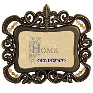Ll Home Fleur-De-Lis Beaded 4 by 6-Inch Photo Frame