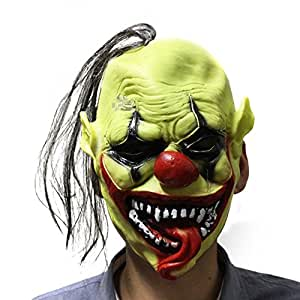 CHN'S Ship From US Adult Clown Halloween Face Mask Hair Cosplay Hats Accessory