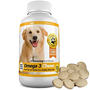 Amazing Omega-3 Rich Fish Oil 100% Pure All-Natural - Unscented Premium Food Grade Pet Nutritional Supplements - Antioxidant Fatty Acids - Promotes Shiny Coat, Bone, Joint and Brain Health - 120 Tasty Chewable Tablets Your Dog Will Love