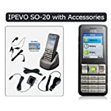 IPEVO S0-20 Wi-Fi Phone for Skype with Accessories, Includes Charging Cradle, Handsfree Earphone with Mic and On/off Button, Wall Charger, Car Charger and USB Chargerby IPEVO