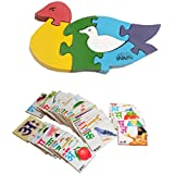 Aimedu Toy Combo Pack Of Wooden Flash Card Hindi Alphabet And Jigsaw Puzzle Duck For Kids Learning