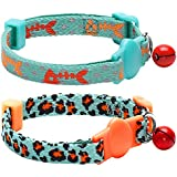 Blueberry Pet 2 Pack Hunting Expedition Adjustable Breakaway Cat Collars with Fish Bone and Leopard Print