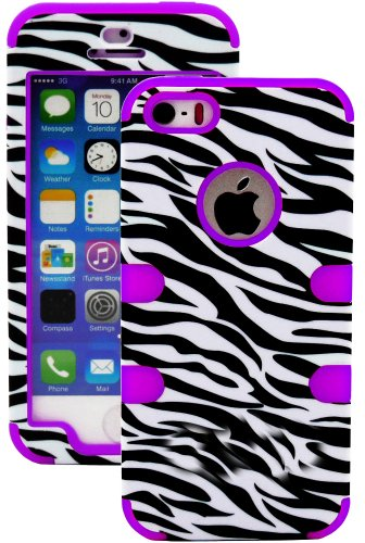 Mylife (Tm) Violet Purple And Black - Zebra Stripes Series (Neo Hypergrip Flex Gel) 3 Piece Case For Iphone 5/5S (5G) 5Th Generation Itouch Smartphone By Apple (External 2 Piece Fitted On Hard Rubberized Plates + Internal Soft Silicone Easy Grip Bumper Ge