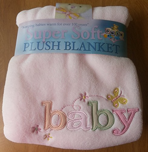 Super Soft Plush Blanket Micro-fiber Fleece Pink Embroidered Appliqued Baby - 1