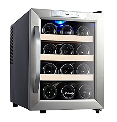 Kalamera 12 Bottle Counter Top Stainless Steel Wine Cooler Refrigerator
