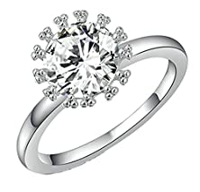 buy Womens Wedding Bands 18K Gold Plated White Circle Round Crystal Cz Alone Size 6 By Aienid