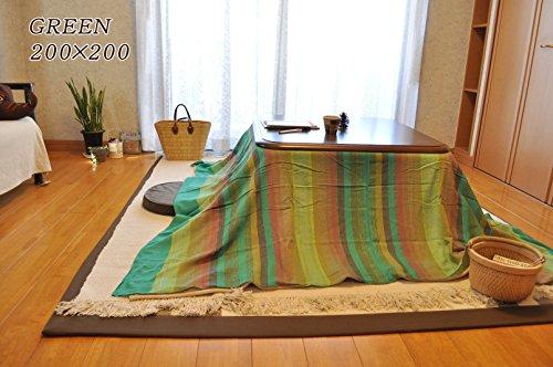 こたつ上掛けにぴったり。 インド綿 マルチカバー シェードストライプ グリーン 200×200cm 一枚布 長方形 こたつ布団カバー