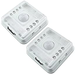 Motion Sensor Light, Danibos 2PCS Wireless 8-LED Light Lamp PIR Sensitive Auto Sensor Motion Detector Super Light (2, White)