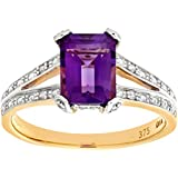 Ariel 9ct Yellow Gold Single Stone Amethyst with Diamond Set Collette and Shoulders Ladies Ring