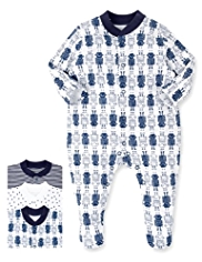 3 Pack Superfine Pure Cotton Robot Sleepsuits