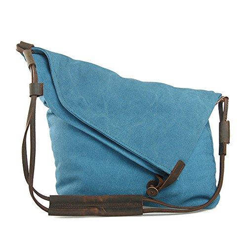 GSPStyle Unisexe sac à bandoulière fourre tout en toile et cuir style de décoration rétro - Bleu