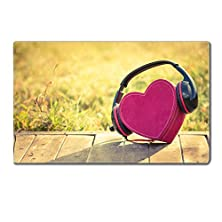 buy Table Mats Headphones With Red Heart Love Music Vintage Retro Image Id 33709862 By Liili Customized Tablemats Stain Resistance Collector Kit Kitchen Table Top Desk Drink Customized Stain Resistance Collector Kit Kitchen Table Top Desk