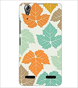 PrintDhaba Leaves Design D-1444 Back Case Cover for LENOVO A6000 PLUS (Multi-Coloured)