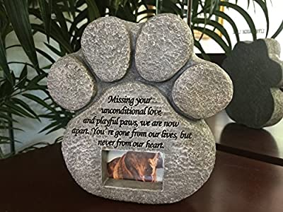 Paw Print Pet Memorial Garden Stone -- Features a Photo Frame and Sympathy Poem. Made of Weatherproof Resin. Indoor/Outdoor.