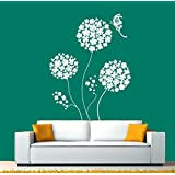 Hoopoe Decor Beautiful Round Flowers With Butterfly Wall Stickers And Decals - B011D39XFK