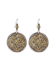 Oxidise Gold Plated Silver Disc Earring
