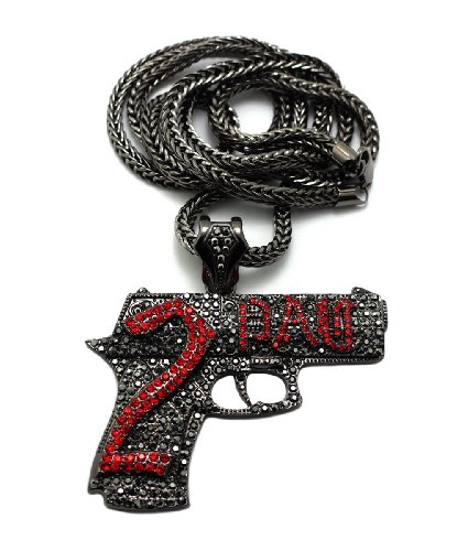 "New Iced Out 2PAC HAND GUN Pendant &4mm/36"" Franco Chain Hip Hop Necklace MP533H"