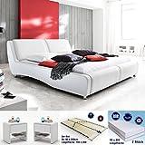 Polsterbett Noel 180x200 weiss + 2x Nako Flash + Matratze + Lattenrost Kunstlederbett Designerbett Doppelbett...