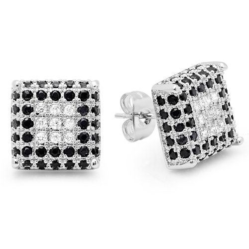 Platinum Plated With White & Black CZ Cubic Zirconia Cube Shaped Hip Hop Mens 11.5 mm Iced Cube Stud Earrings