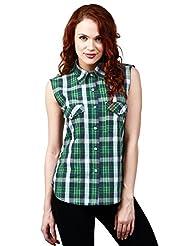 Faireno Green Checkered 100% Cotton Sleeveless Women's Shirt