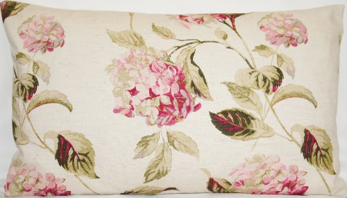 Cushion Pillow Cover Laura Ashley Fabric Hydrangea Pink Green Floral Beige Print Rectangular